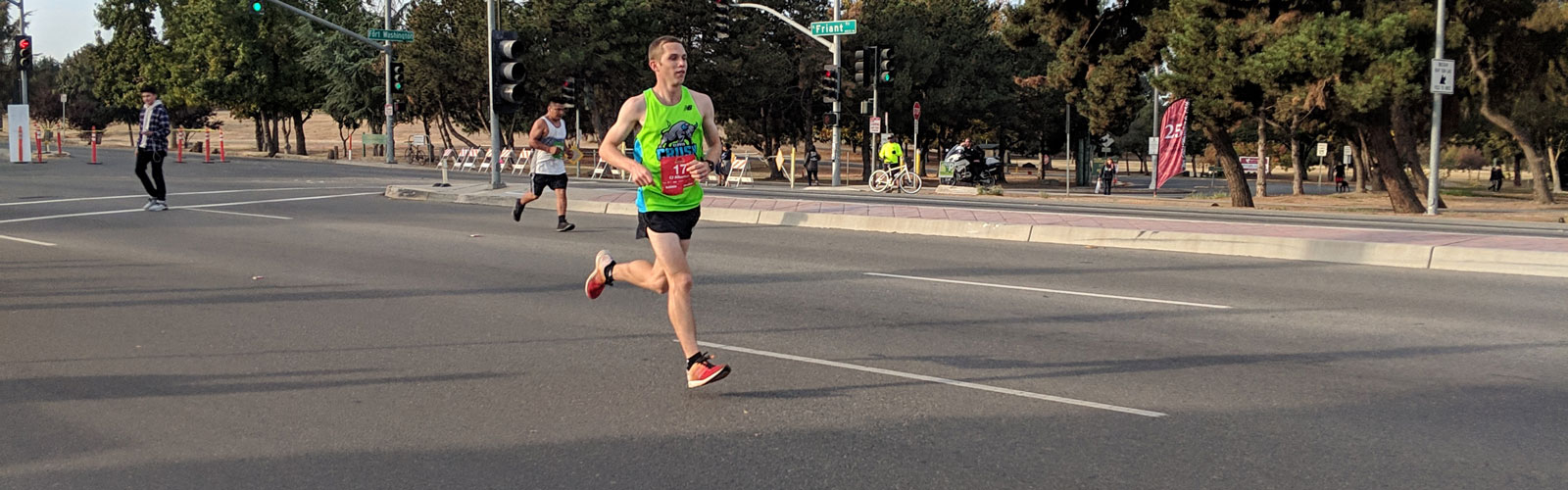CJ Albertson running in the Two Cities Marathon