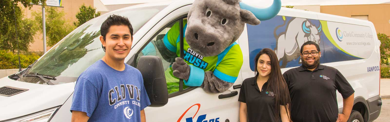 Crush mascot driving CCC Shuttle Bus