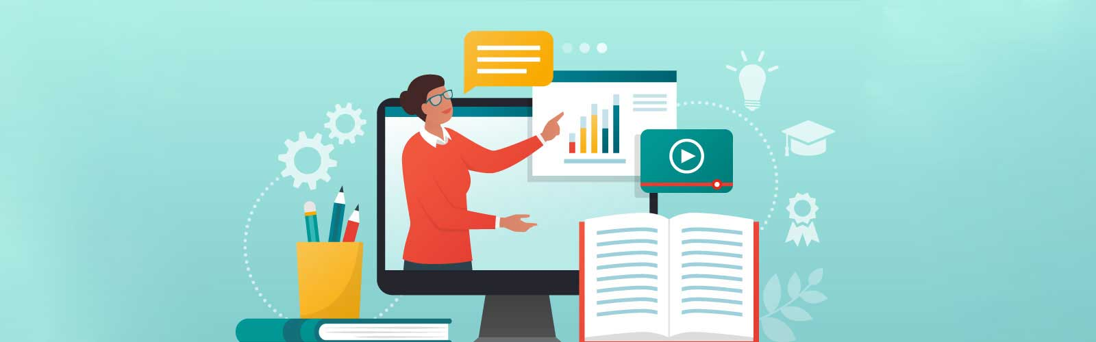 E-learning platform and distance learning illustration