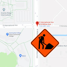 map of willow avenue with roadworks warning graphic