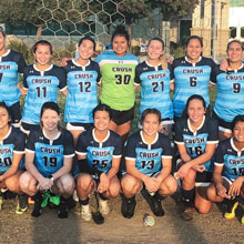 Sample of Women's soccer team at Crush V Taft Playoff Win