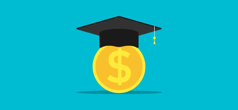 A graphic of a dollar wearing a graduation cap