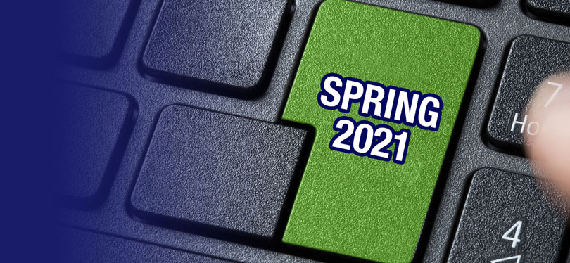 A keyboard with Spring 2021 typed onto one of the keys