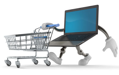 laptop pushing a shopping cart