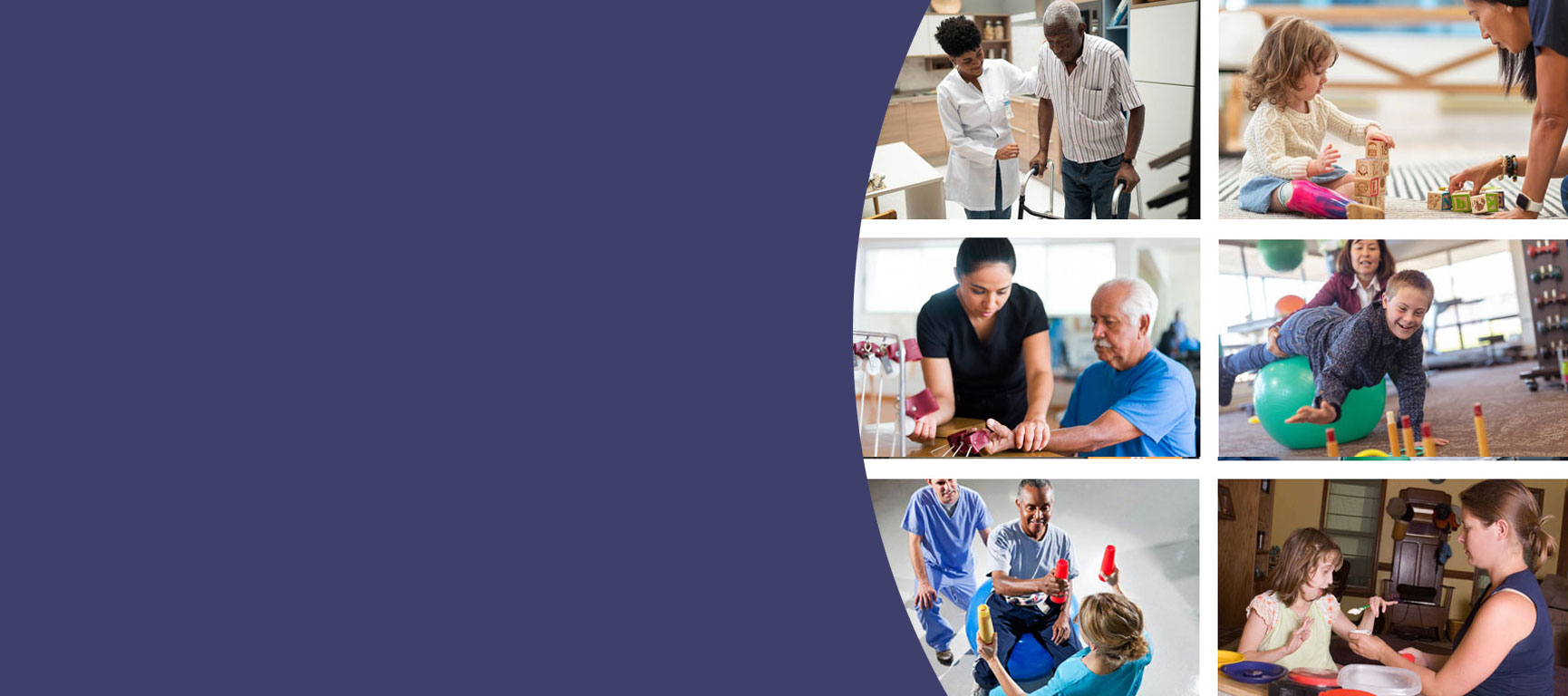 A collage of images of occupational therapists assisting a variety ofpatients