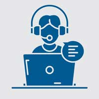 graphic of counselor with headphones on online call