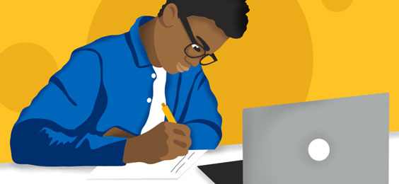 Drawing of a student writing on a paper while sitting behind an open laptop computer