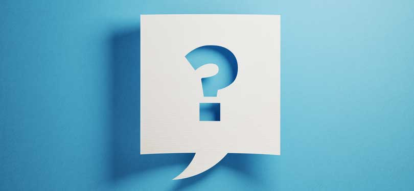Question mark on blue background